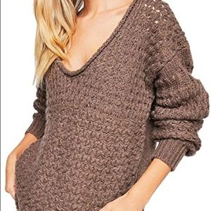 Free People Brown Chunk Knit Sweater Size Large